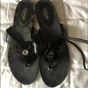 Coach Suki Black Signature Logo Sandals